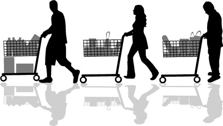 super market: Silhouettes of people out shopping