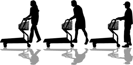 Silhouettes of people out shopping Stock Vector - 17211083