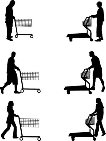 shopping carriage: Silhouettes of people out shopping