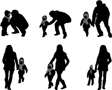 woman scarf: Silhouette of parents and children  Illustration