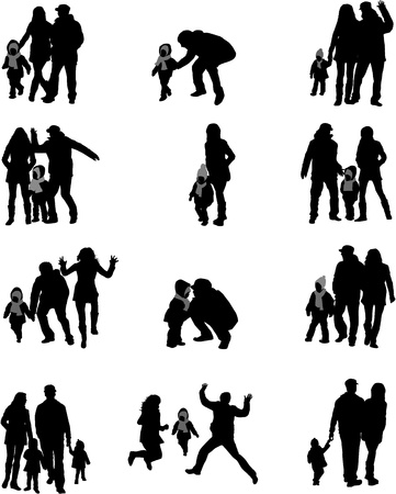 Silhouette of parents and children  Stock Vector - 17566192