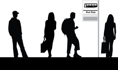 tourist bus: Bus stop Illustration
