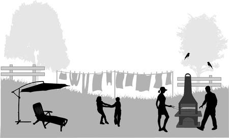 blustery: Family picnic in the garden - illustration