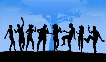 bailarines silueta: Personas bailando