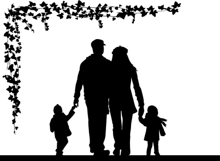 family with two children: Family silhouette