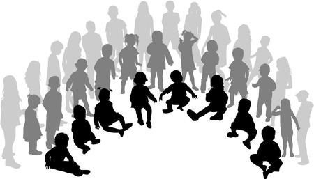 ni�os sentados: Un numeroso grupo de ni�os Vectores