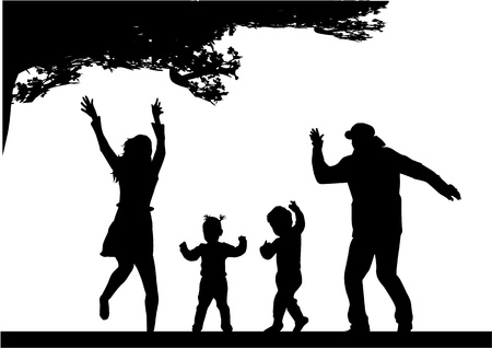 Family silhouette Stock Vector - 17566189