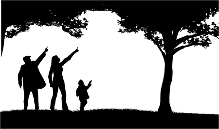 dad son: Silhouettes of the parents and children Illustration