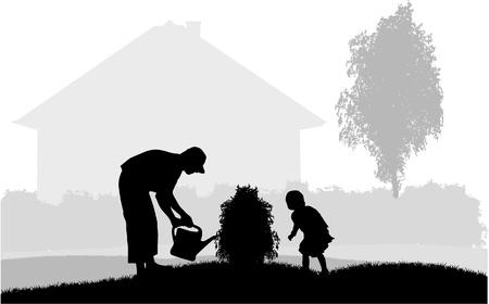 regando el jardin: Padre e hija en el jard�n Vectores