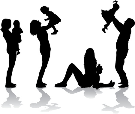 Family silhouette Stock Vector - 17719748