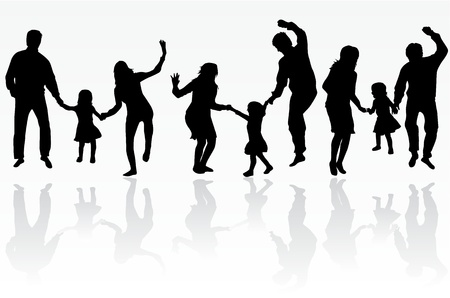 Family silhouette Stock Vector - 17719728