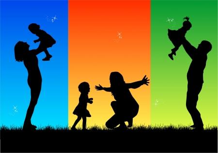 padre e hija: Familia silueta