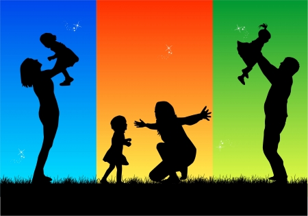 Family silhouette Stock Vector - 17719734