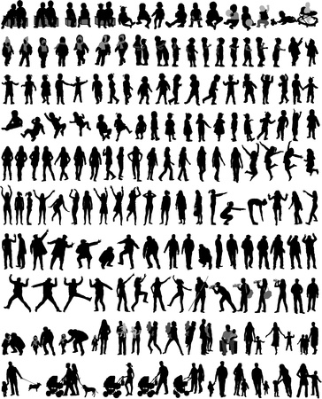 People Mix Silhouettes, work  Vector