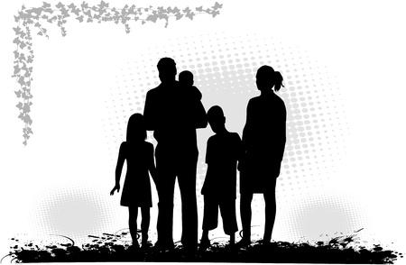 family outdoors: Family Illustration