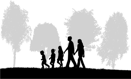 Family on a walk Stock Vector - 17719795