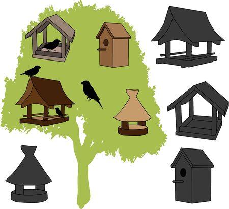 house fly: feeder - bird house