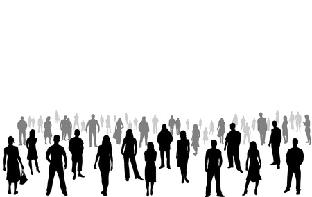 girl shadow: crowd of people - silhouettes Illustration