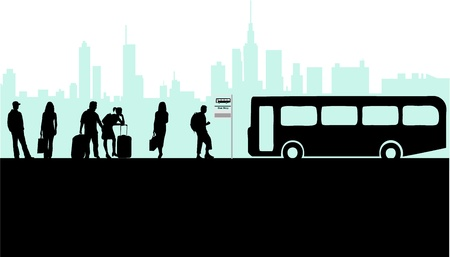 Bus stop- city live Vector