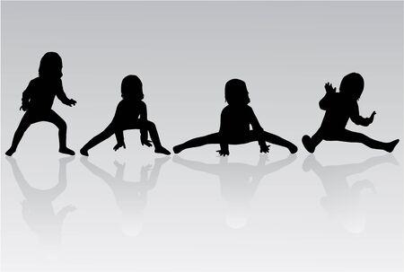 gymnastics silhouette: Gymnastics - silhouette of a little girl
