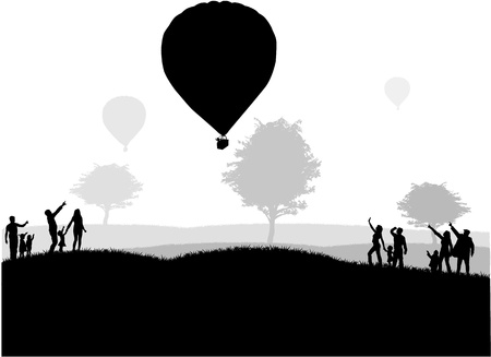 group of people - show of flying balloons 矢量图像