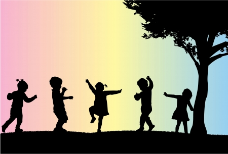 fun grass: group of childrens silhouettes
