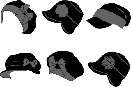 collection of caps Vector