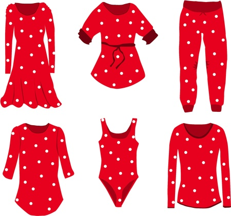 women s hat: Collection of clothes in dots