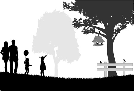 papa:  Silhouettes of the parents and children Illustration