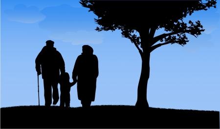 Großeltern mit Enkel und Enkelin Standard-Bild - 17965389