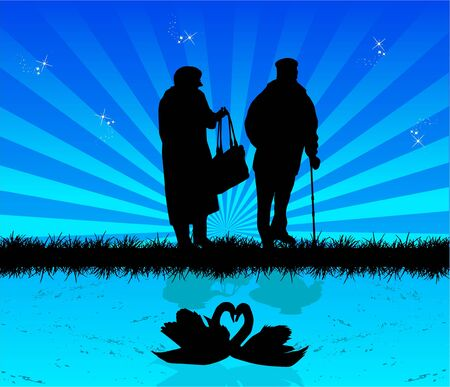 Old people on an evening walk Ilustração