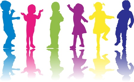 children silhouettes:  group of children