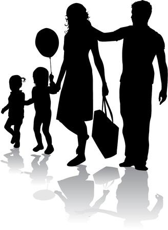 kind silhouet: Family silhouet Stock Illustratie