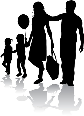 Silhouette famille Banque d'images - 17965399