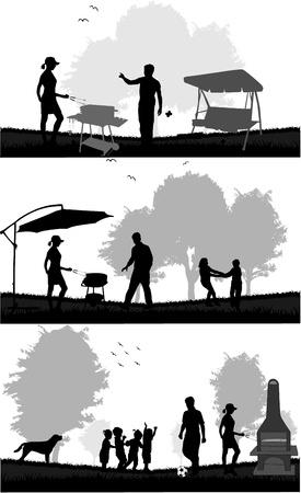 familia picnic: picnic en el jard�n Vectores