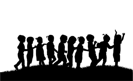 child couple: group of childrens silhouettes
