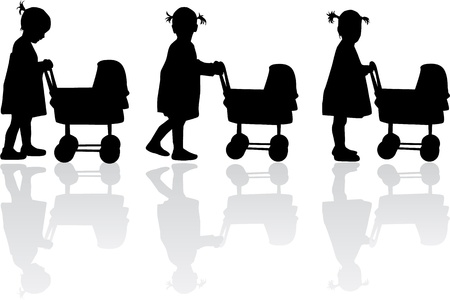 Silhouette of a girl  with cart for dolls Vector