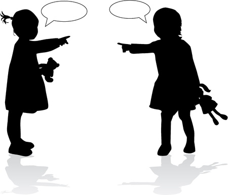 girl fight: Silhouettes of childrens