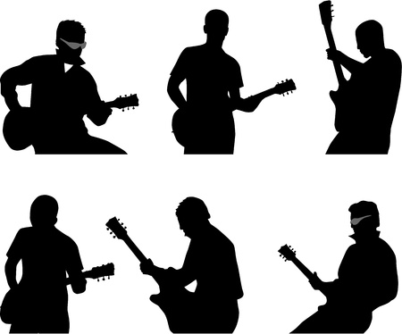 musically: guitar player silhouette Illustration