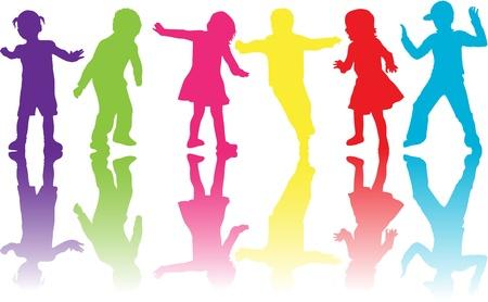 sombras: grupo de crian Ilustra��o