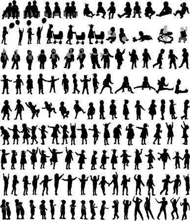 Grote verzameling van kinderen silhouetten, vector werk.