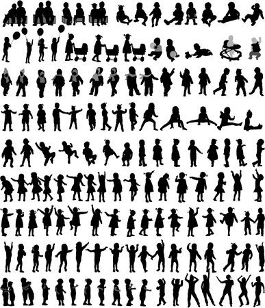 children silhouettes: Large collection of childrens silhouettes , vector work.