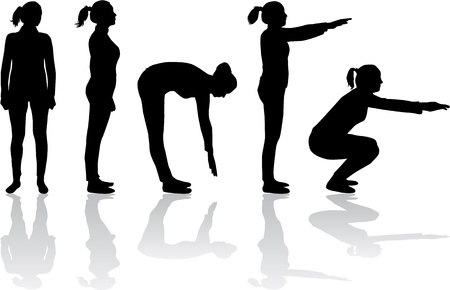 squat: silhouettes of women - sport