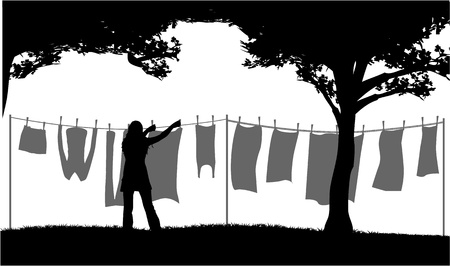 dry clean: Hanging laundry outside