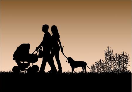 perro familia: Familia a pasear al perro