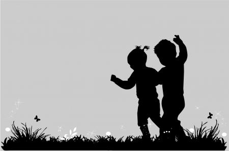 niños caminando: grupo de niños Vectores
