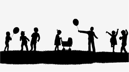 niños bailando: Ilustración de niños en la naturaleza Vectores
