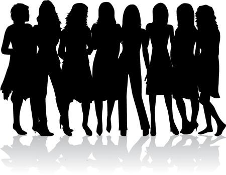 female legs: group of women - black silhouettes