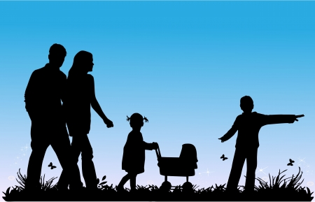 grass family: family with children walking