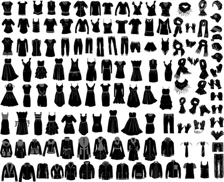large set of clothes male female Vector